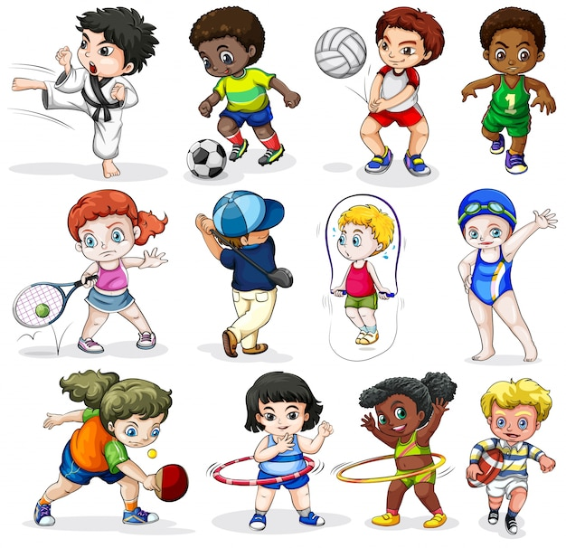 Lllustration of the kids engaging in different\ sports activities on a white background