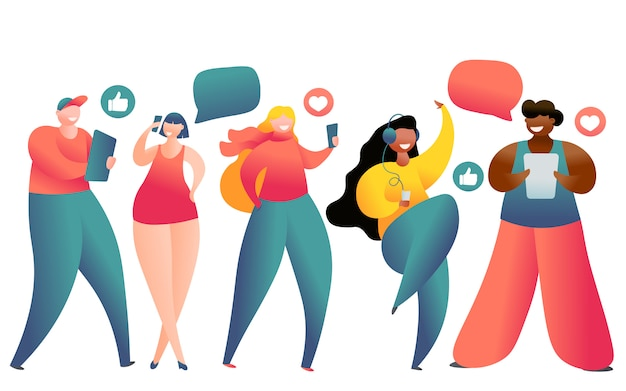 Llustration of young people using laptop, tablet pc,smartphone for social networking and blogging. Premium Vector