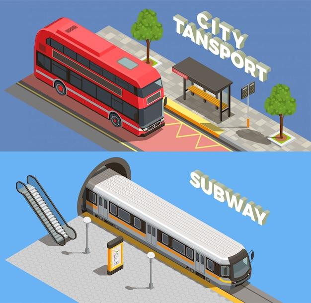 Общественный городской транспорт изометрии с горизонтальными композициями текста подземных и наземных транспортных средств llustration Бесплатные векторы