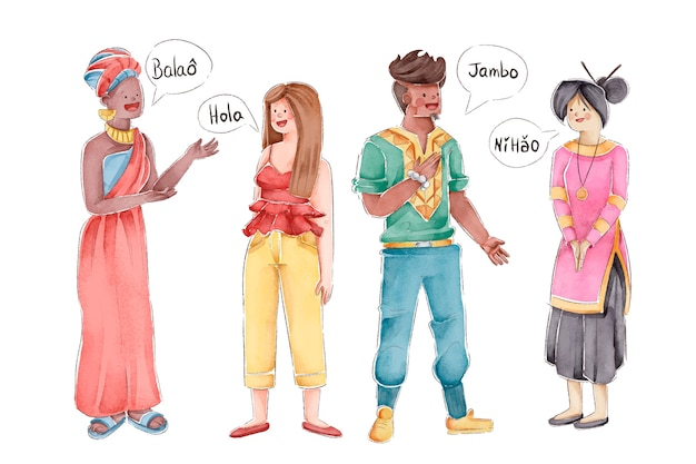 Llustrations of multicultural people Free Vector