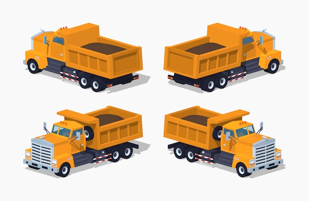 Loaded orange 3d lowpoly isometric dumper Premium Vector