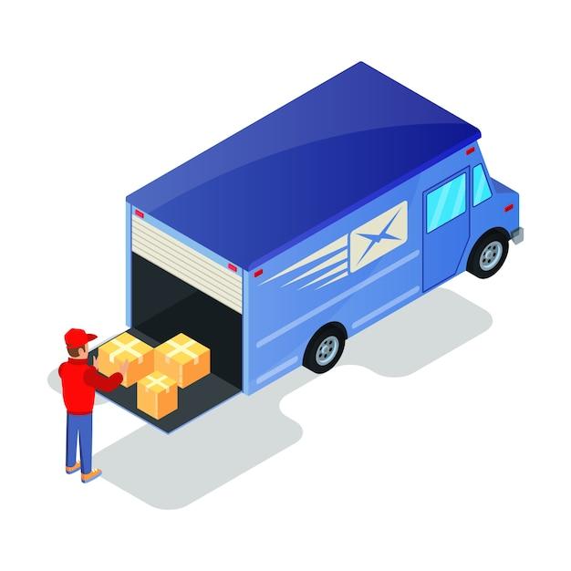 バンへの商品と一緒に均一に持ち上げる段ボール箱のローダー。発動機またはドライバーの取り扱い、トラックで輸送するための小包の準備。オンラインショッピング、配送、発送のコンセプト。白の等尺性。 Premiumベクター
