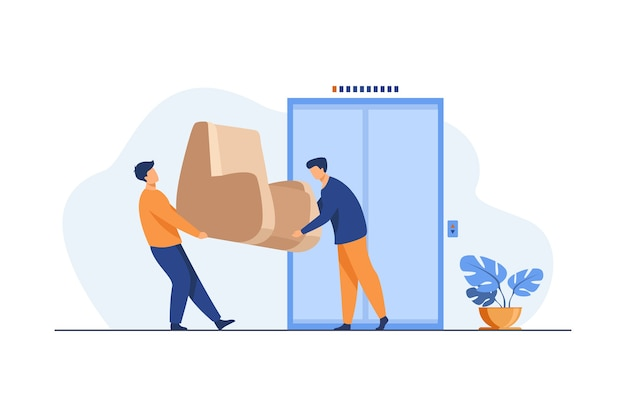 Loaders carrying furniture during moving. two men holding armchair at elevator flat illustration. Free Vector