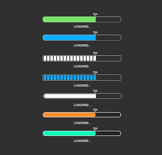 Loading bar big set for game app Premium Vector