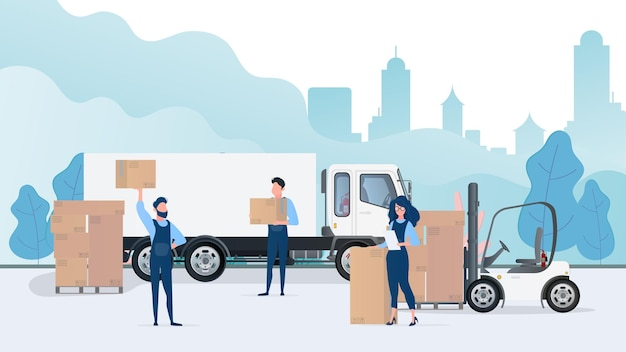 Loading cargo into the car. movers carry boxes. the concept of moving and delivery. truck, forklift, loader. . Premium Vector