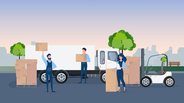 Loading cargo into the car. movers carry boxes. the concept of moving and delivery. Premium Vector