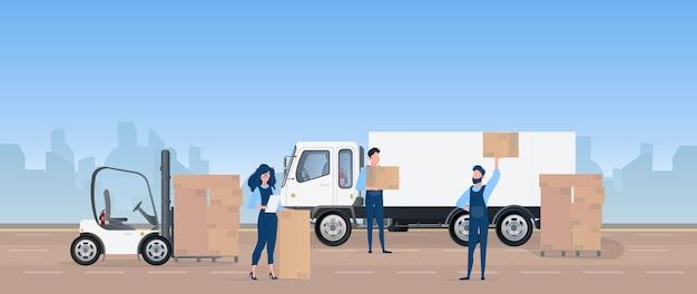 車に貨物を積み込みます。発動機は箱を運びます。移動と配達の概念。トラック、フォークリフト、ローダー。 。 Premiumベクター