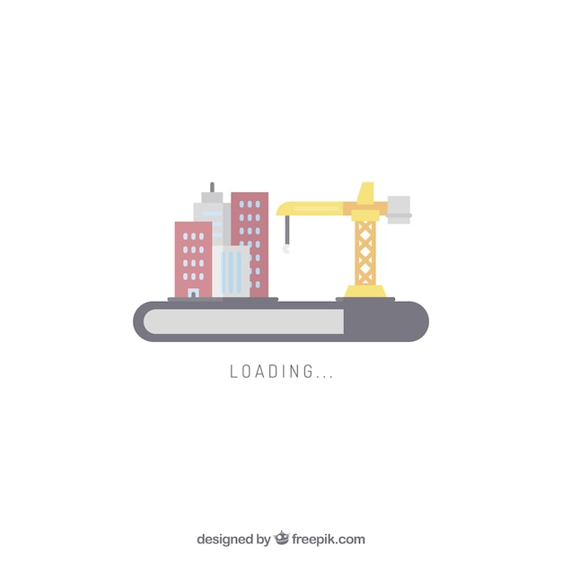 Loading city skyline web element Free Vector