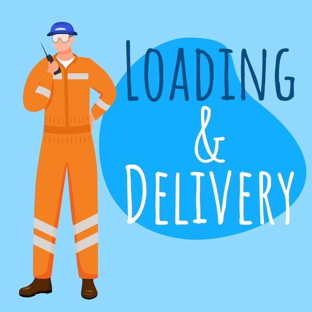 Loading and delivery social media post mockup. sea port ...