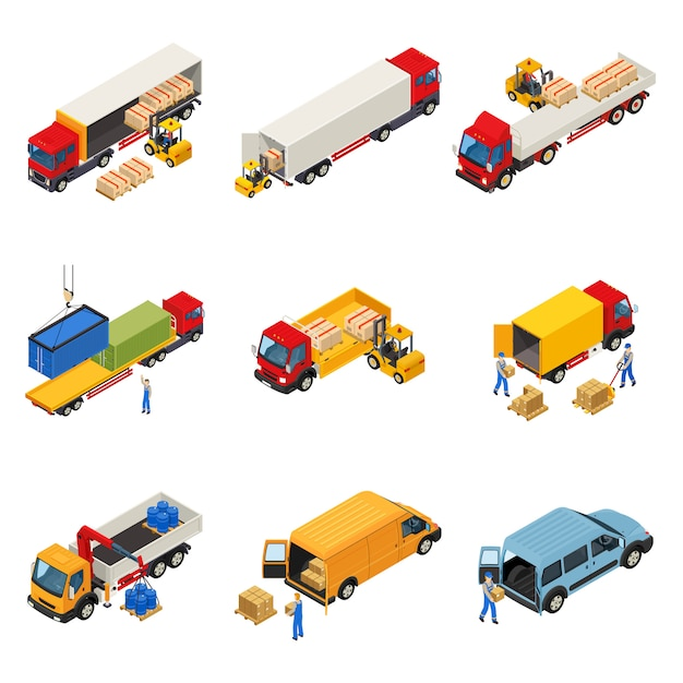 Loading of goods set Free Vector