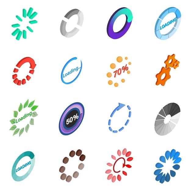 Loading icons set Premium Vector