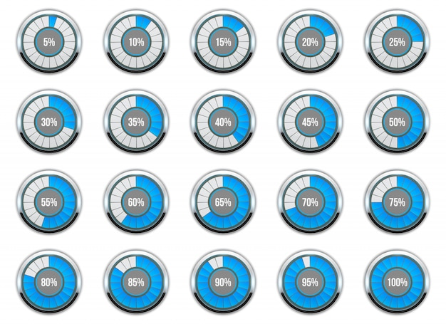 Loading round progress circle bar. Premium Vector