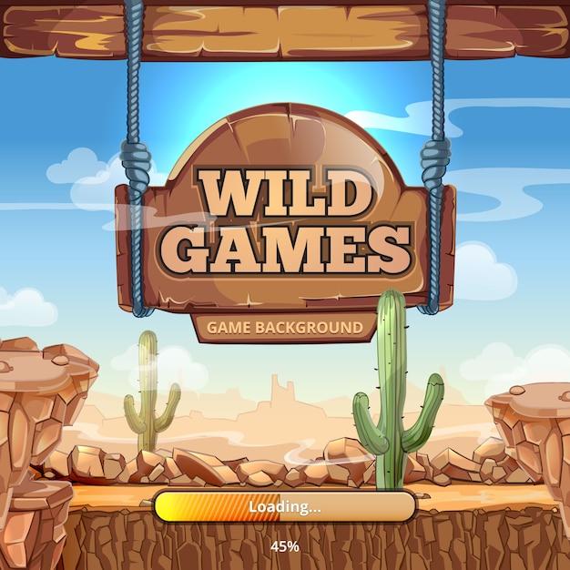 ワイルドウェストゲームのタイトルが表示されたロード画面。砂漠と山々、サボテンと石、道標 無料ベクター