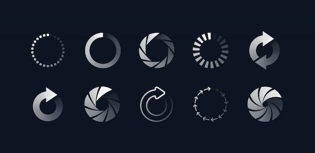 Loading symbols set Free Vector