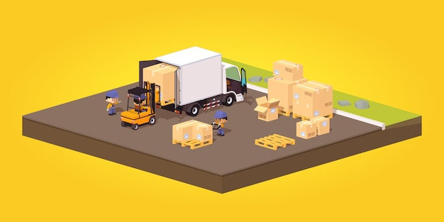Loading or unloading of the cardboard boxes Premium Vector