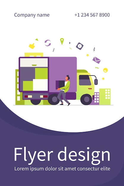 Loading workman carrying box in truck. parcel, logistics, cardboard flat flyer template Free Vector