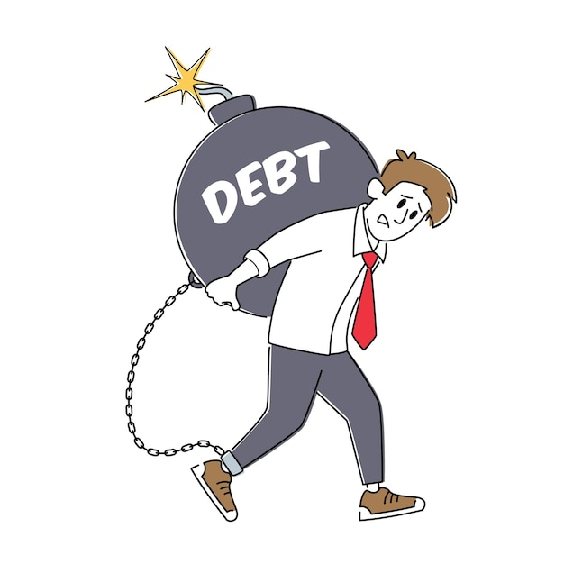 Loan payment, taxation concept. tired businessman character carry huge round bomb with burning fuse Premium Vector