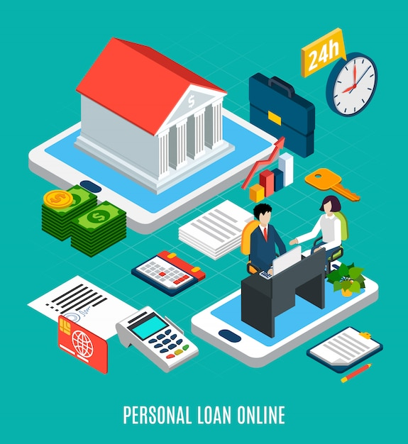 Loans isometric composition of personal loaning online service elements with touch screen gadgets Free Vector