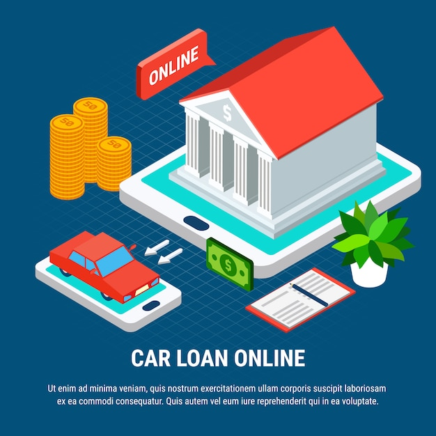 Loans isometric composition with combined elements of touch screen gadgets bank building and car Free Vector