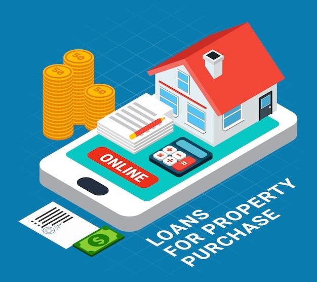 텍스트와 스마트 폰 화면 위에 개인 주택의 요소와 대출 아이소 메트릭 구성 무료 벡터