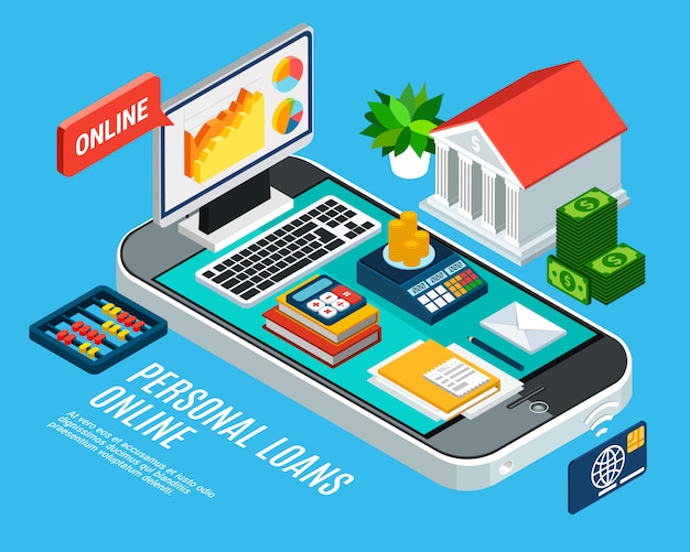 Loans isometric composition with mobile banking related and documents on smartphone screen Free Vector