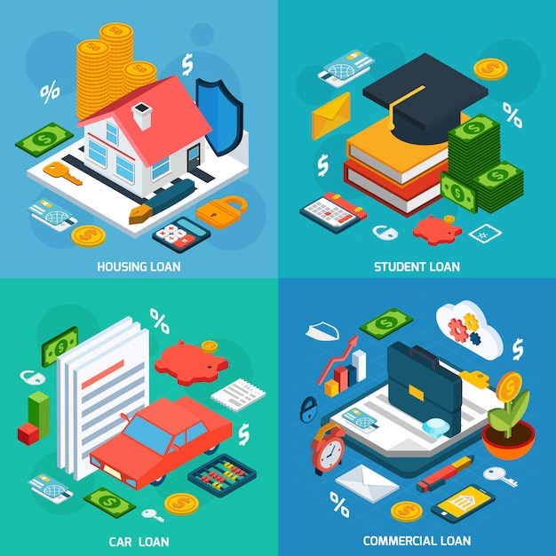 Loans isometric set Free Vector