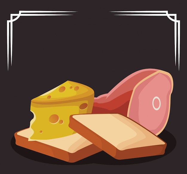 Loaves with piece of cheese and ham leg Premium Vector