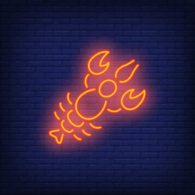 Lobster on brick background. neon style illustration. beer snack, seafood restaurant Free Vector
