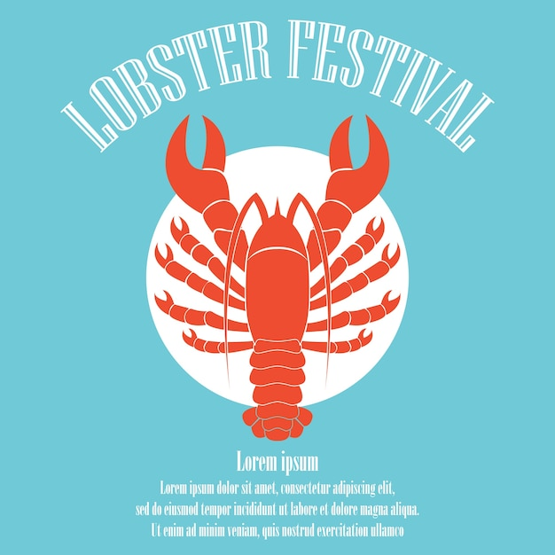 Lobster poster for lobster festival template. vector illustration Free Vector