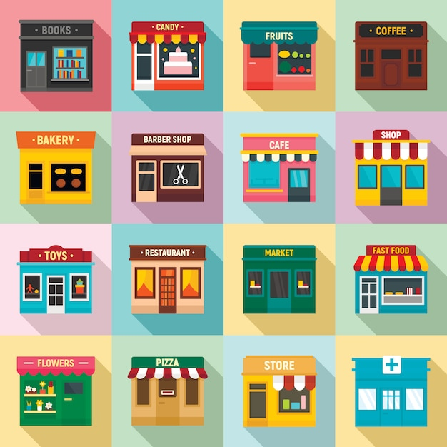 Local business front store set, flat style Premium Vector