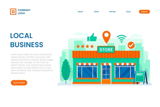 Local business landing page template Premium Vector