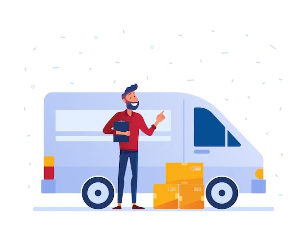 Local delivery service concept. Premium Vector