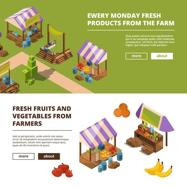 ローカルファームバナー。野菜肉魚果物果物食料品店テンプレートと屋外食品市場 Premiumベクター