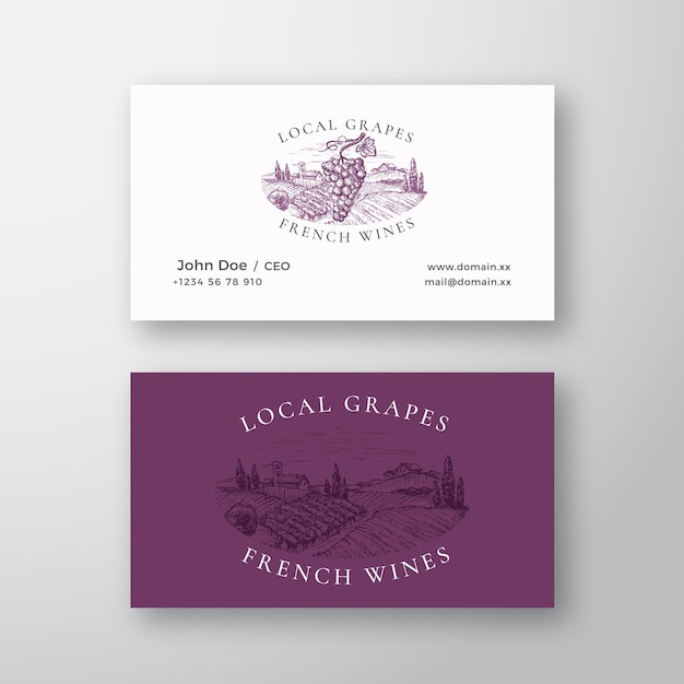 Местный виноград французские вина виноградник ретро абстрактный вектор знак или логотип и шаблон визитной карточки Premium векторы