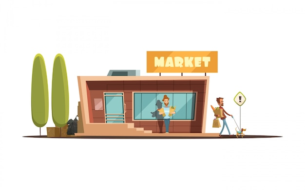 Local market building with customer trees and dog cartoon vector illustration Free Vector