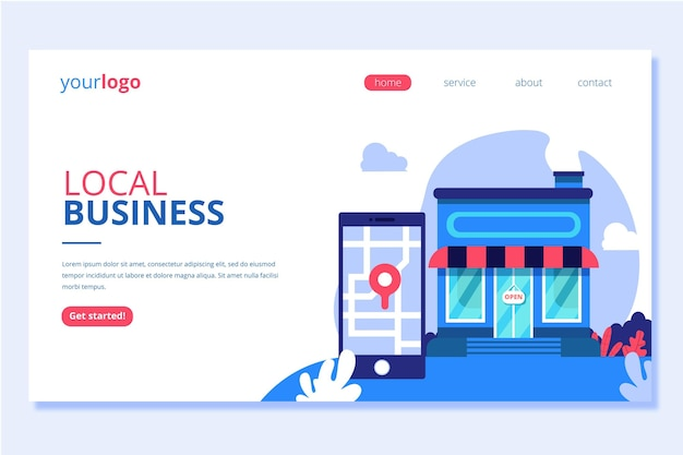 Local and online business landing page Free Vector