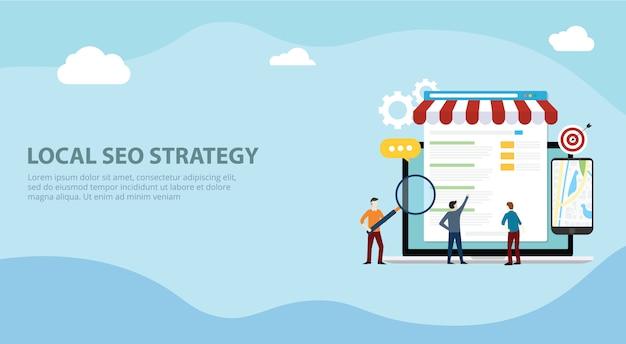Local seo market strategy Premium Vector