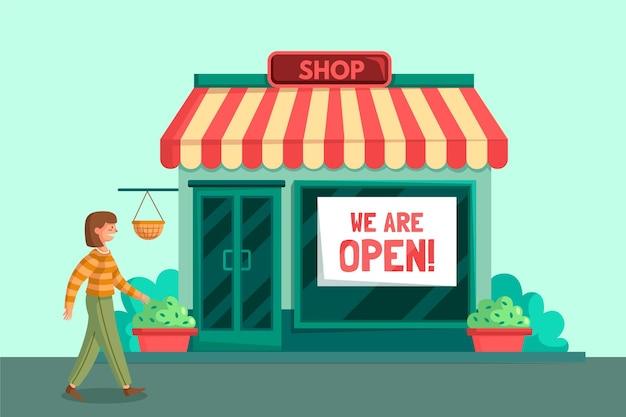 Местный магазин вновь открыт и имеет клиента Premium векторы