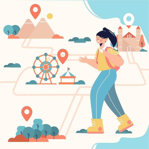 地元観光の概念図 無料ベクター