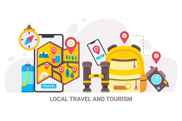 Local tourism concept Free Vector