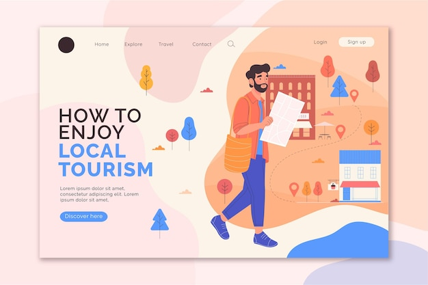 Local tourism landing page design Free Vector