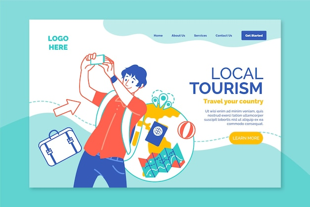 Local tourism landing page template Free Vector