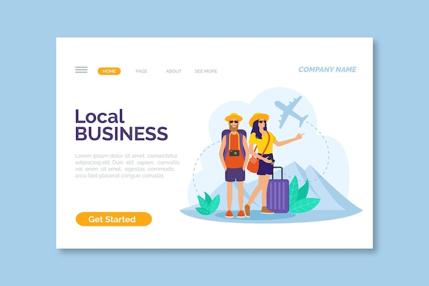 Local tourism landing page Free Vector