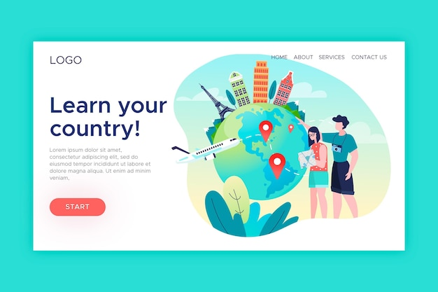 Local tourism - landing page Free Vector