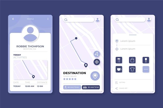 Concetto di interfaccia dell'app di posizione Vettore gratuito