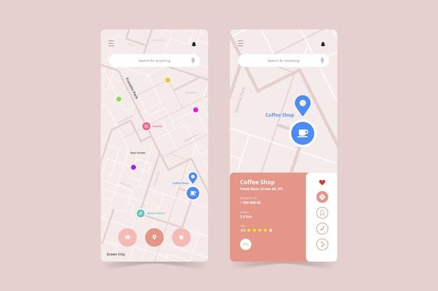Шаблон интерфейса приложения геолокации на смартфоне Бесплатные векторы