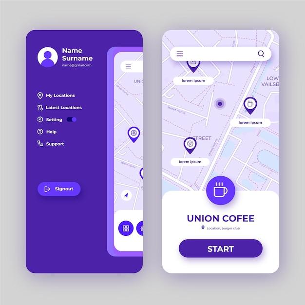 Location app interface Free Vector