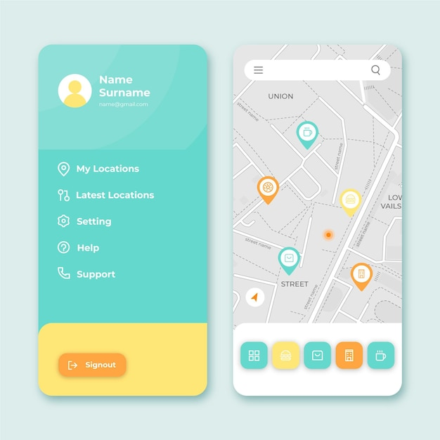 Location app interface Free Vector