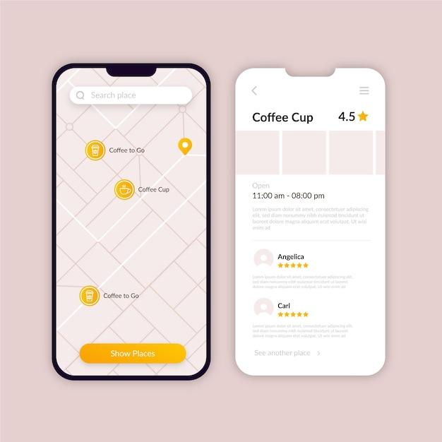 Raccolta delle schermate delle app di posizione Vettore gratuito