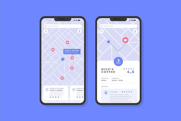 Schermate delle app di localizzazione Vettore gratuito